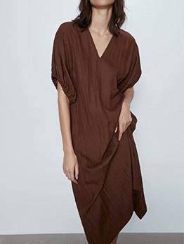 Lantern Sleeve V Neck Solid Midi Dress