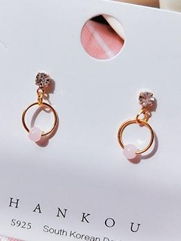 Sweet Rhinestone Pink Beads Round Earrings