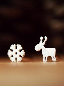 Deer Snowflake Asymmetric Cute Earrings