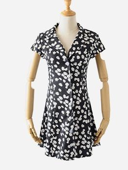 Sunflower Print Short Sleeve Shirt Dress