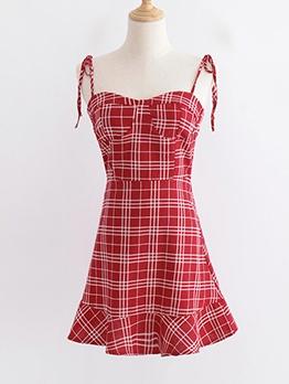 Flounced Hem Plaid Sleeveless Summer Dress