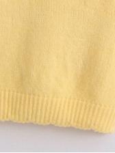 Yellow Knitting Embroidery Sleeveless T Shirt