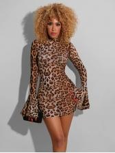 Gauze Flare Sleeve Leopard Print Mini Dress