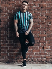 Loose Gradient Color Striped t Shirts For Men