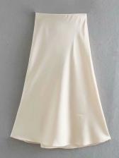 Pure Color Silk Midi A Line Skirt