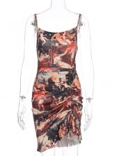 Sexy Deep U Neck Drawstring Print Mini Dress