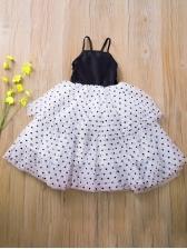 Large Hem Polka Dot Sleeveless Long Dresses For Girls