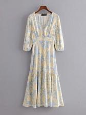V Neck Short Sleeve Floral Maxi Dress For Vacation
