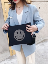 Smiling Face Tiny Rhinestones Black Over The Shoulder Bags
