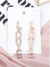 Fashion Rhinestone Decor Letter Long Earrings
