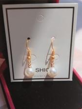 Metal Faux Pearl Pendant Dangle Earrings