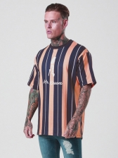 Contrast Color Striped Short Sleeve Tee Shirts