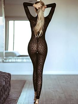 Black See Through Long Sleeve Leopard Print Jumpsuit
