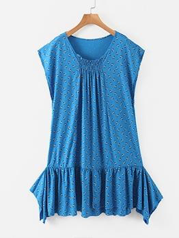 Ruffled Front Elastic Printed Dress For Women