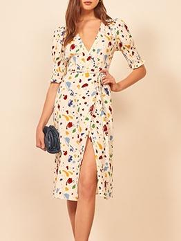 Colorful v Neck Inks Printing Summer Ladies Dresses