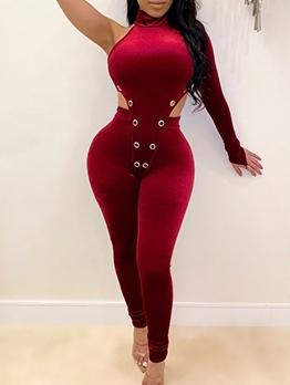 Velvet One Shoulder Bodysuit And Trouser 2 Piece Set