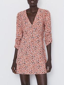 V Neck Slim Fit Long Sleeve Floral Dress