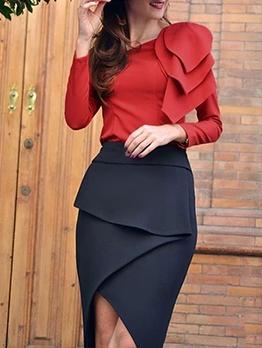 OL Style Ruffled Irregular Hem Ladies Work Suits