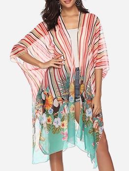 Striped Printed Chiffon Loose Beach Sun Protection Cardigan