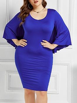 Bat Cloak Design Solid Plus Size Dress For Women