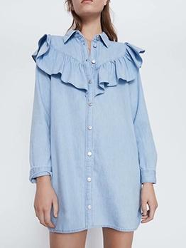 Ruffle Detail Single-Breasted Blue Denim Dress