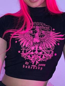 Gothic Eagles Printed Mock Neck Black T Shirt
