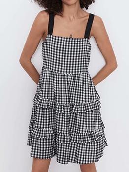 Flounced Hem Black Plaid Sleeveless Dress