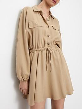 Smart Waist Single-Breasted Long Sleeve Shirt Dress