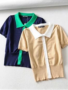 Turndown Neck Contrast Color Knit T Shirt