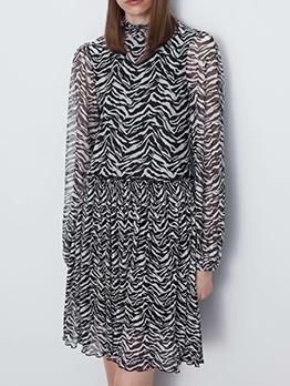 Mock Neck Zebra-Stripe Long Sleeve Short Dress