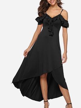 Ruffle Detail Large Hem Black Off The Shoulder Evening Dress