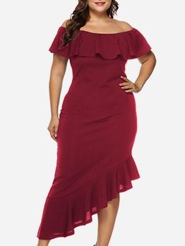 Irregular Ruffle Hem Solid Plus Size Evening Dress
