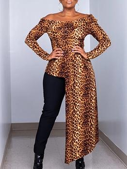 Off Shoulder Leopard Print Long Sleeve Long Blouse