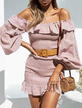 Ruffed Striped Long Sleeve Off The Shoulder Dress
