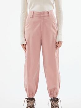 Solid Pockets Decor Jogger Pants