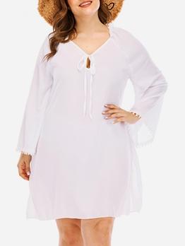 Backless White Plus Size A-Line Dress
