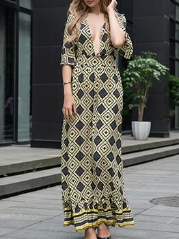 Deep V Geometric Printing Half Sleeve Maxi Dress