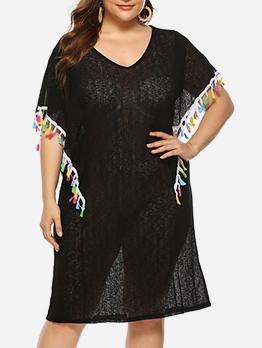 V Neck Tassel Decor Black See Through Dress