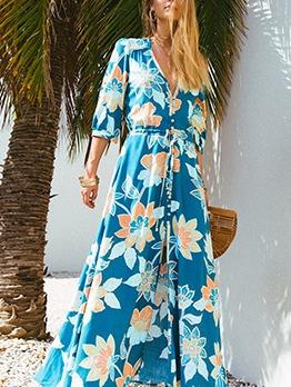 Bohemian Front Button Printed Beach Maxi Dress