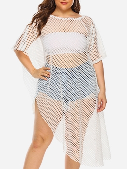 Crew Neck Hollow Out White Cover Up Dress