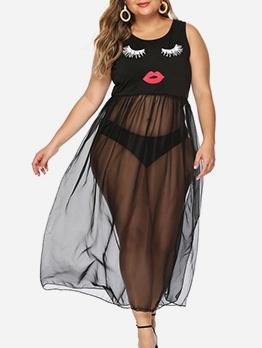 Summer Mesh Split Hem Sleeveless Vest Dress