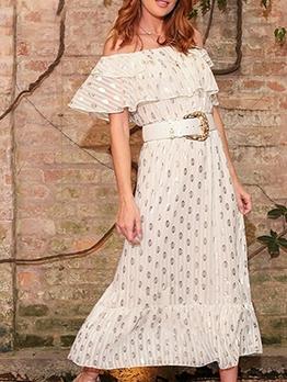 Ruffled Polka Dots Off The Shoulder Midi Dress