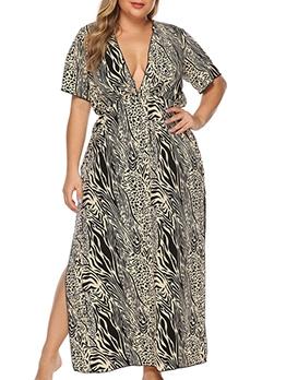 Deep V Neck Animal Print Plus Size Maxi Dress