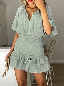 V Neck Ruffled Hem Short Sleeve Summer Dresses