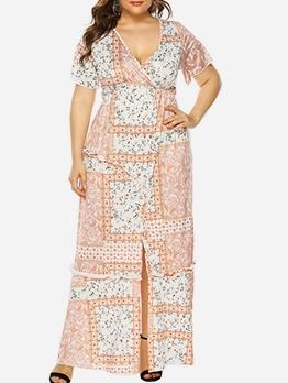 Deep V Neck Print Plus Size Maxi Dress