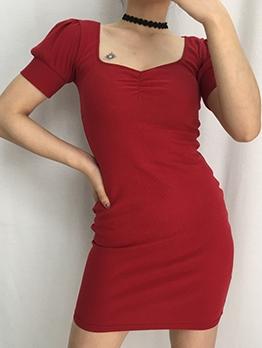 Retro Square Neck Knitted Bodycon Dress