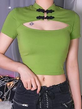 Cheongsam Button Keyhole T Shirt Design