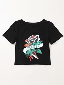 Summer Flower Printed Black T Shirt