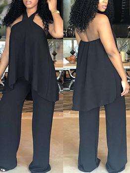 Solid Halter Wide Leg Two Piece Pants Set