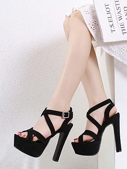 Bandage Solid Platform Block Heel Sandals